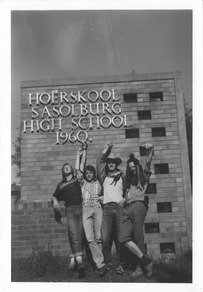 Johannes Kerkorrel and friends pictured on the last day of school outside Sasolburg High.  Used with the kind permission of Dr. Wes Ingram.