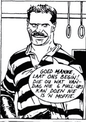 Cartoon from the cover of the album Die Saaie Lewe by Die Naaimasjiene.
