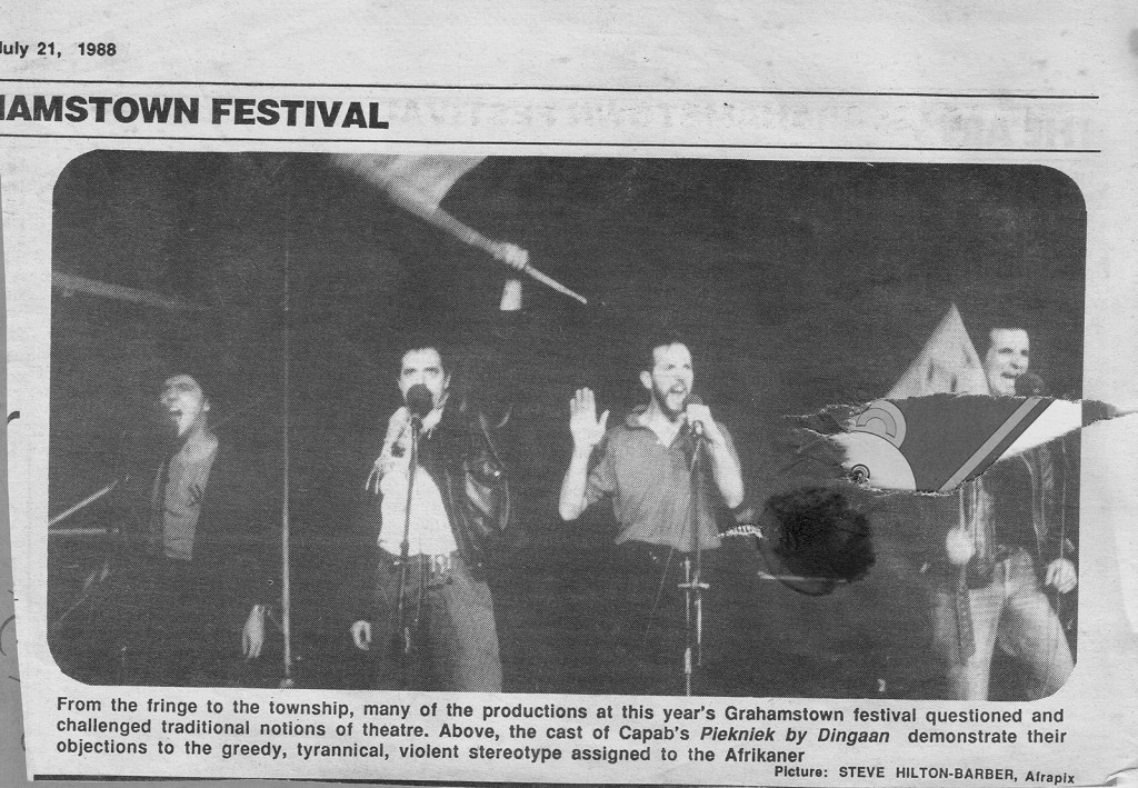 Press clipping about the cabaret Piekniek by Dingaan